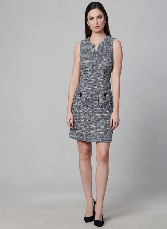 Karl Lagerfeld Paris - Tweed Dress, Black, hi-res
