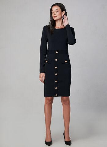 Frank Lyman - Robe en tricot à détails boutonnés, Noir, hi-res,  robe à manches longues, robe ajustée, boutons métalliques, boutons surdimensionnés, automne hiver 2019