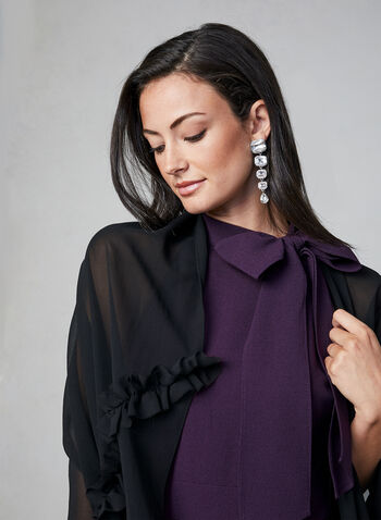 Chiffon Ruffle Scarf, Black, hi-res,  sheer, ruffles, fall 2019, winter 2019