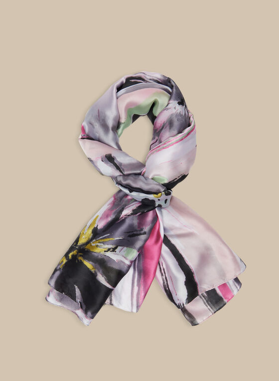 Mixed Floral & Abstract Print Scarf, Pink