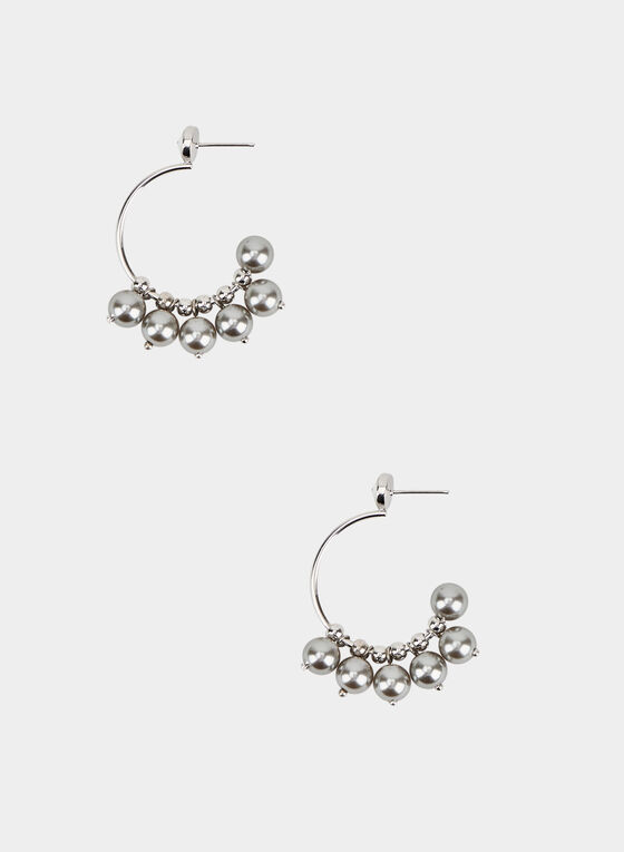 Open Hoop Cluster Earrings, Silver