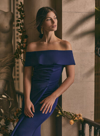 BA Nites - Off-the-Shoulder Drape Dress, Blue,  dress, evening, occasion, drape, foldover, off-the-shoulder, strapless, cascade, stretchy, gathered, spring summer 2021