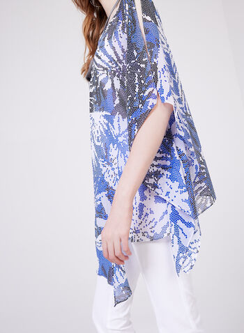 Frank Lyman – Abstract Print Poncho Blouse, Blue, hi-res