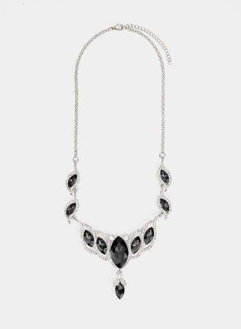 Stone Faceted Crystal Necklace , Black, hi-res,  necklace, stone, crystal, fall winter 2019