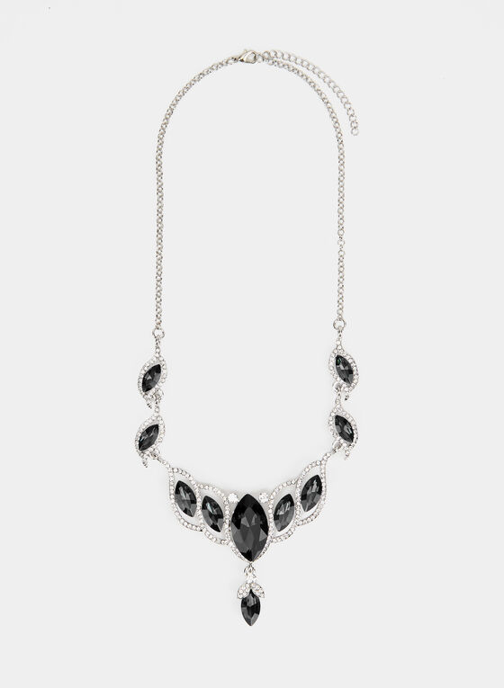Stone Faceted Crystal Necklace , Black