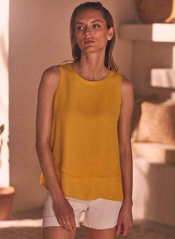 Tiered Hemline Sleeveless Blouse, Yellow,  top, sleeveless, tiered, crepe, spring summer 2021