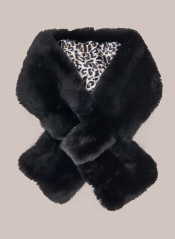 Printed Lining Pull Through Scarf, Black,  scarf, winter, pull through, slip through, faux fur, leopard print, fall winter 2020