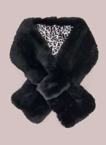 Col-écharpe en fausse fourrure, Noir,  col, écharpe, foulard, fausse fourrure, léopard, automne hiver 2020, style à enfiler