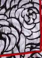 Large Floral Print Oblong Wrap Scarf, Black, hi-res