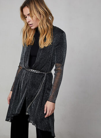 Glitter Open Front Cardigan, Black, hi-res,  top, open front top, cardigan, duster, glitter top, metallic top, metallic, long sleeves, holiday, fall 2019, winter 2019