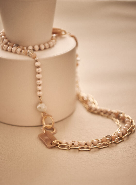 Multi Row Bead & Chain Necklace, Pink