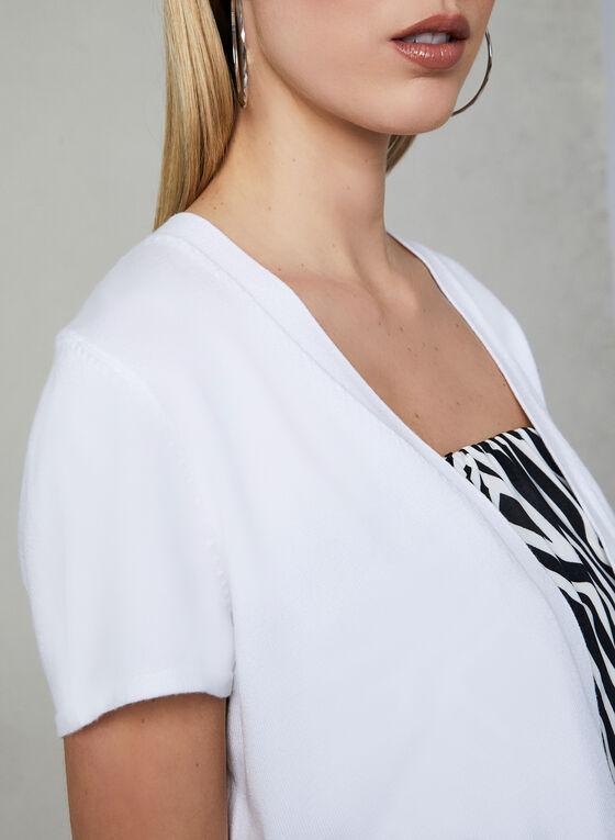 Boléro ouvert en tricot, Blanc, hi-res