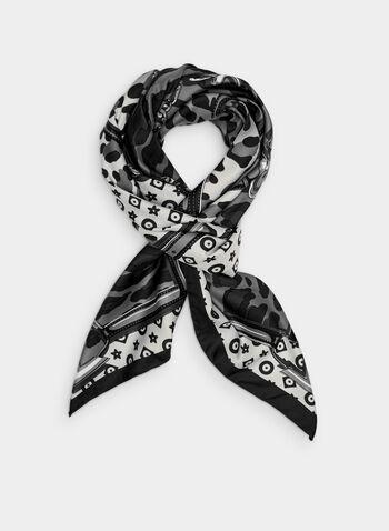 Foulard carré à motif animalier, Gris, hi-res,  foulard, carré, animalier, ceinture, automne hiver 2019