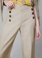 Wide Leg Linen Blend Pants, Off White