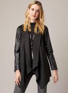 Joseph Ribkoff - Vegan Leather & Faux Suede Coat, Black