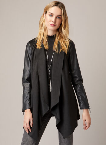 Joseph Ribkoff - Vegan Leather & Faux Suede Coat, Black,  fall winter 2020, long sleeves, coat, vegan leather, faux suede, Joseph Ribkoff, faux fur, draped, cascade, made in canada