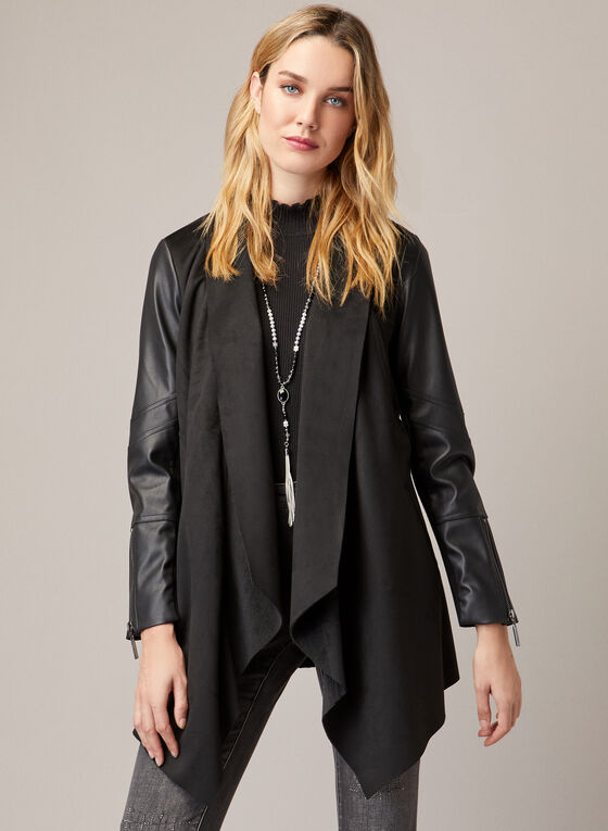 Joseph Ribkoff - Vegan Leather & Faux Suede Coat, Black