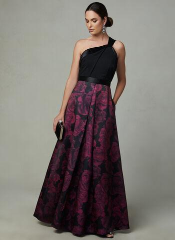 Ignite Evenings - Robe à col asymétrique et jupe fleurie, Noir, hi-res