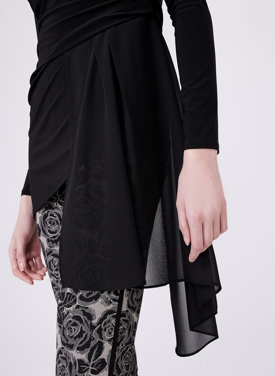 Chiffon Drape Detail Top , Black, hi-res