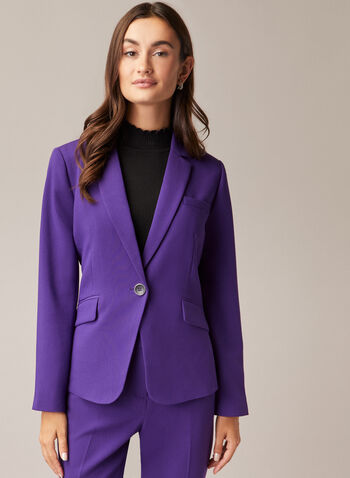 Notched Collar Single Button Jacket, Purple,  jacket, blazer, notched collar, ponte di roma, bi-stretch, fall winter 2020