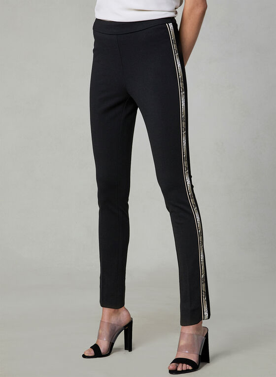 Snake Print Trim Slim Leg Pants