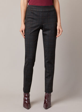 Tartan Print Madison Pants, Black,  fall winter 2020, pants, pull-on, elastic, tartan print, slim leg