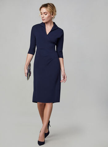 Maggy London - Wrap-Style Dress, Blue,  Maggy London, dress, day dress, 3/4 sleeves, long sleeves, wrap, exposed back zipper, fall 2019, winter 2019