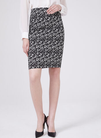Leaf Print Pull-On Pencil Skirt, Black, hi-res