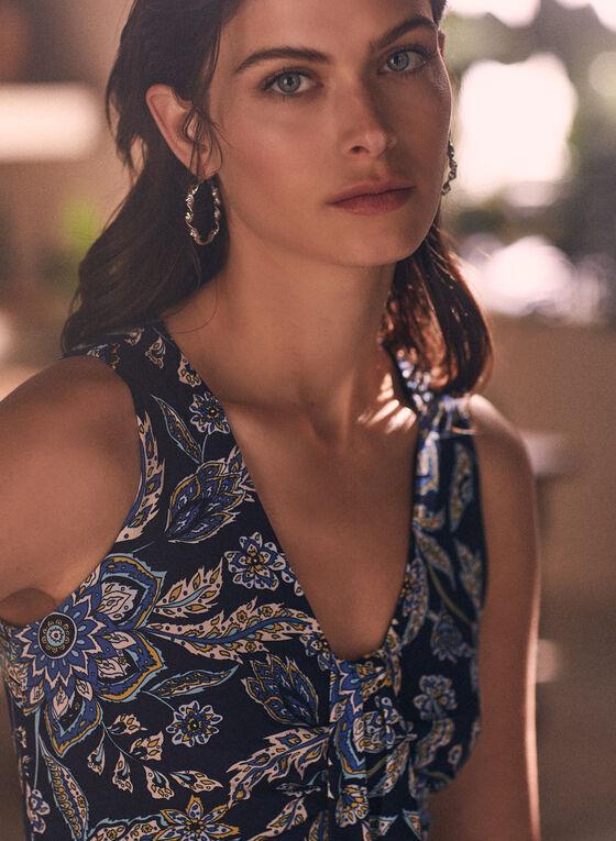 Sleeveless Floral Print Dress, Blue