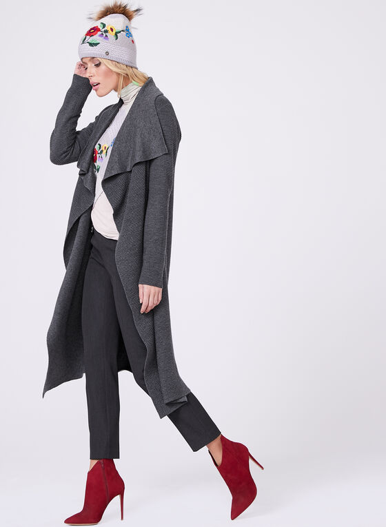 Ottoman Knit Cascading Front Cardigan  , Grey, hi-res