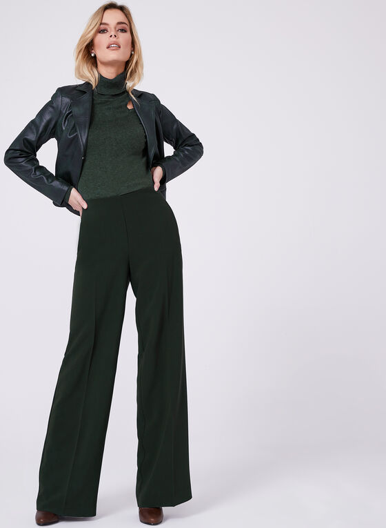 Soho Slimming Fit Wide Leg Pants, Green, hi-res