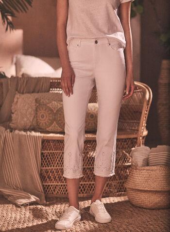 Embellished Denim Capris, White,  capris, denim, slim leg, 5 pockets, sequins, embroidery, embellished, frayed, cotton blend, cotton, spring summer 2021