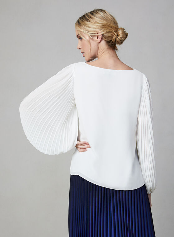 Pleated Long Sleeve Blouse, Off White, hi-res