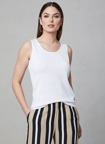 Alison Sheri - Sleeveless Knit Top, White, hi-res,  scoop neck, tank, camisole, spring 2019