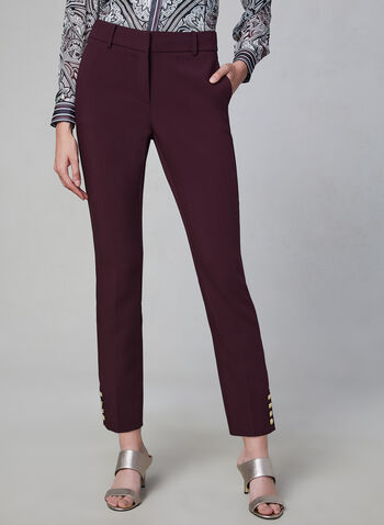 Giselle Fit Slim Leg Pants, Purple, hi-res,  pants, slim leg, button cuffs, fall 2019, winter 2019