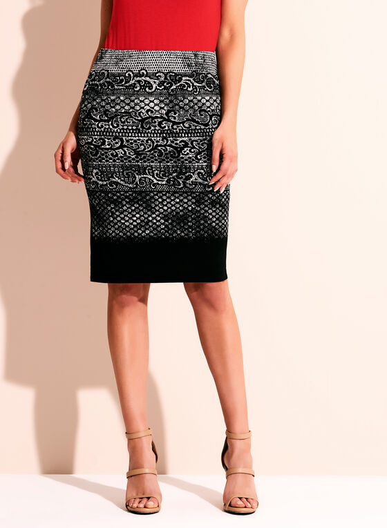 Graphic Print Jersey Pencil Skirt, Black, hi-res