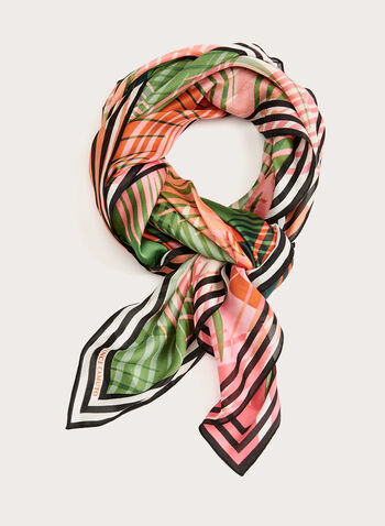 Square Palm Leaf Print Scarf, Green, hi-res