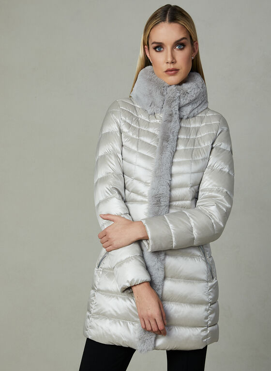 Karl Lagerfeld - Faux Fur Trim Quilted Coat , Silver