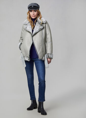 BCBGeneration - Aviator Coat With Faux Fur, Grey,  coat, faux fur, faux fur coat, faux leather, aviator coat, winter coat, fall 2019, winter 2019