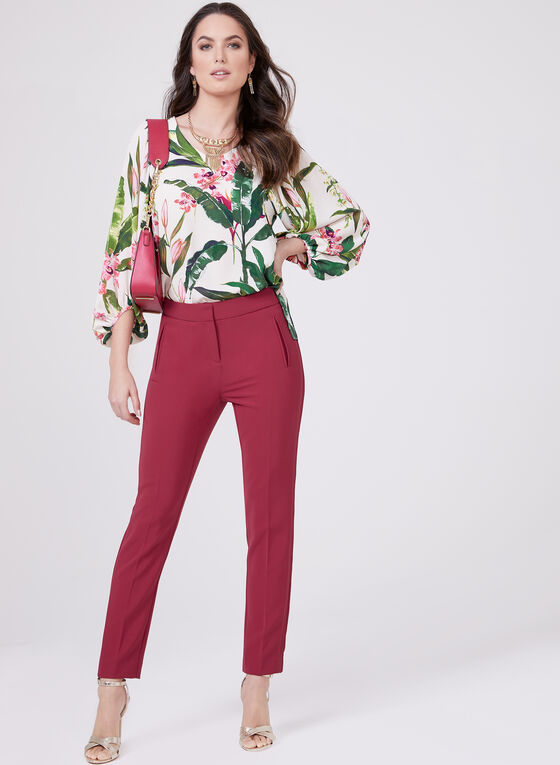 Floral Print Balloon Sleeve Blouse, Red, hi-res