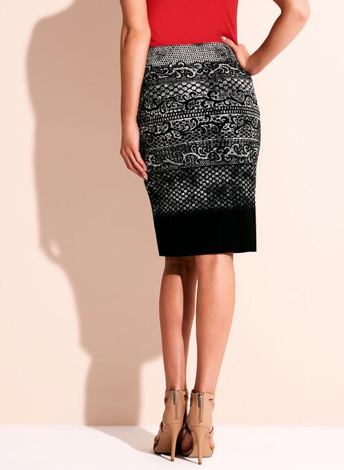 Graphic Print Jersey Pencil Skirt, Black, hi-res