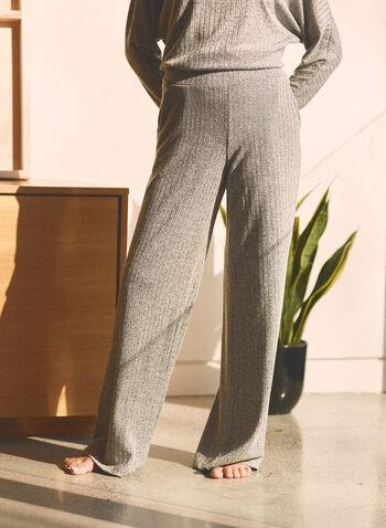 Pantalon en tricot à jambe large , Gris,  printemps été 2021, bas, pantalons, jambes larges, poches, tricot côtelé, fait au canada