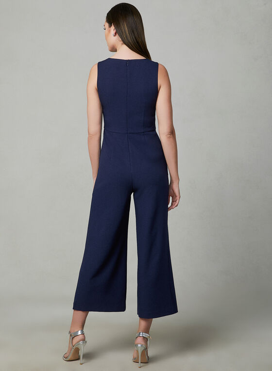 Karl Lagerfeld Paris - Crepe Jumpsuit, Blue, hi-res