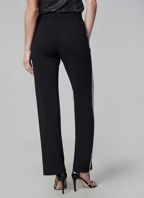 Beaded Wide Leg Pants, Black