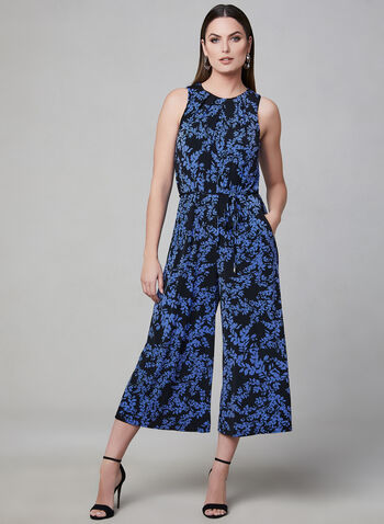 Maggy London - Floral Print Jumpsuit, Black, hi-res,  Spring 2019, jumpsuit, jersey, sleeveless, culottes, wide leg, cuscoop neck