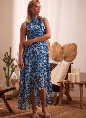 Watercolour Print High Neck Dress, Blue,  spring summer 2021, made in Canada, dress, day dress, sundress, watercolour print, high neck dress, keyhole, sleeveless, lined, asymmetric, asymmetrical, light, flowy
