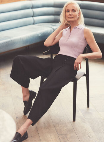 Button Detail Wide Leg Pants, Black,  pants, pull-on, wide leg, angle, elastic, button details, pockets, spring summer 2021