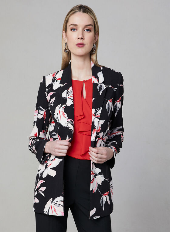 Veste à imprimé floral, Noir, hi-res