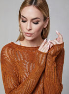 Scalloped Hem Crochet Sweater, Orange, hi-res