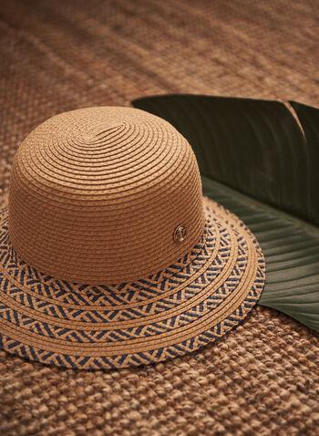 Striped Brim Straw Hat, Beige,  spring summer 2021, hats, accessory, accessories, straw, two tone, stripes
